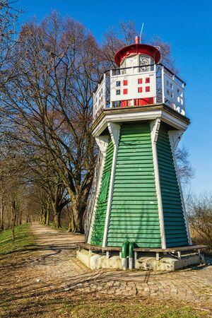 The Bunth�user Spitze lighthouse in Hamburg on the Elbe 版權商用圖片