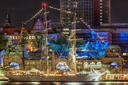 Sailing ship in the port of Hamburg at night