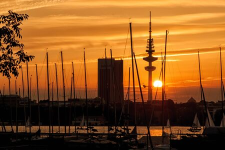 Sunset over the Outer Alster in Hamburg