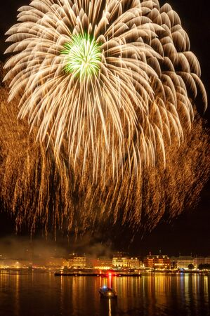 Fireworks over the Alster in Hamburg Stock Photo