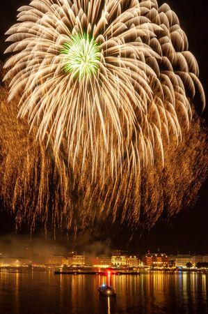 Fireworks over the Alster in Hamburg 版權商用圖片