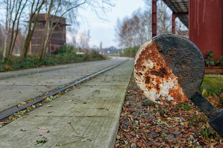 A hand-operated signal box on railway tracks