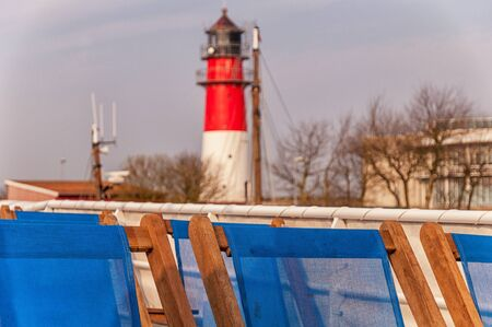 The lighthouse in Büsum from an excursion boat