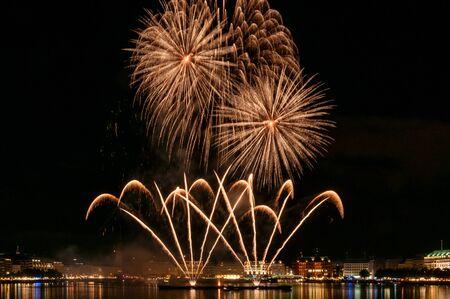 Fireworks over the Alster in Hamburg