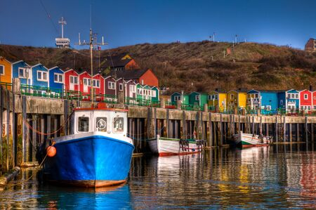 The lobster booths in the port of the island of Helgoland 版權商用圖片