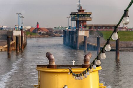 The port entrance in Büsum from an excursion boat