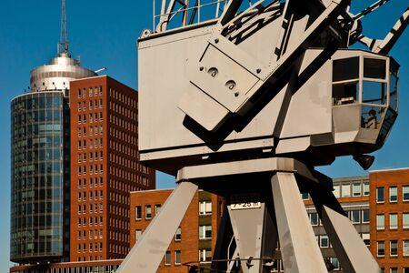 Historic harbor crane in Hamburg's HafenCity