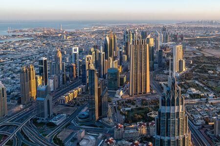 The Dubai skyline in the morning