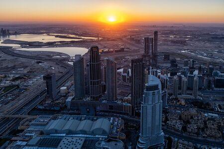 The Dubai skyline at sunrise