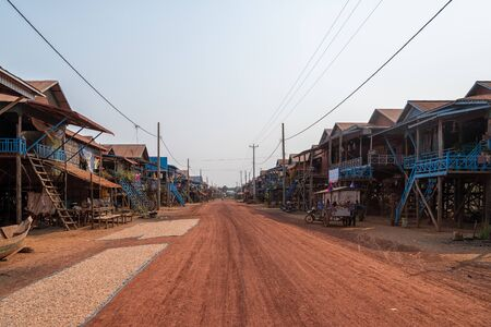 Kampong Floating Village in Cambodia during the dry season