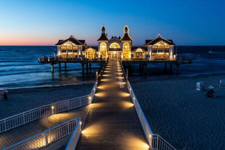 The pier in Sellin on the island of Rügen at night