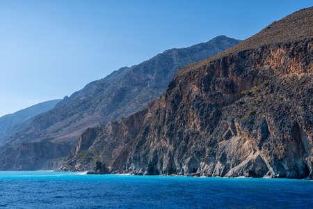 Mountainous coast on the Greek island of Crete