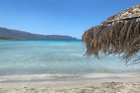 Parasol on Elafonissi Beach on the Greek island