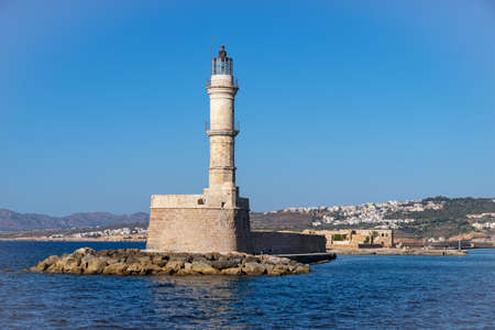 Lighthouse in the Venetian port of Chania on the island