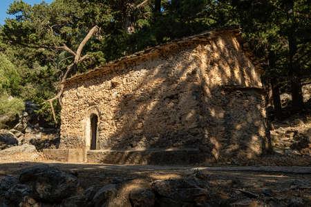 Stone house in the Samaria Gorge on the Greek island 版權商用圖片