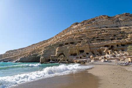 The Matala Caves on the Greek island of Crete