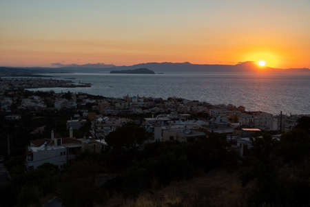 Sunset over Chania on the Greek island of Crete