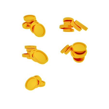 Gold coins on a white background in high resolution without a background Stockfoto