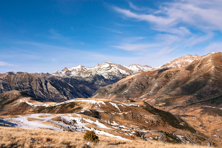 abrupt: Winter begins in the Pyrenees Stock Photo