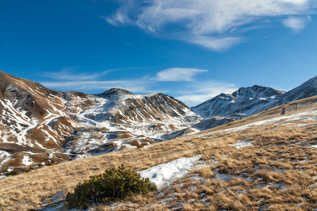 begins: Winter begins in the Pyrenees Stock Photo