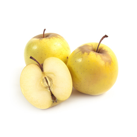 Yellow apples isolated on white background