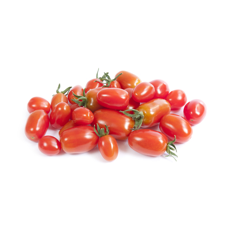 growers: Cherry tomatoes isolated on white background Stock Photo