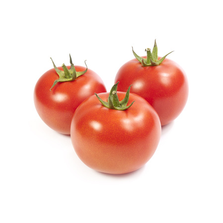 growers: Vine-ripe tomatoes isolated on white background Stock Photo