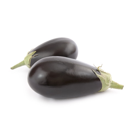 Black Eggplant isolated on white background. Local product of Catalonia (Spain)