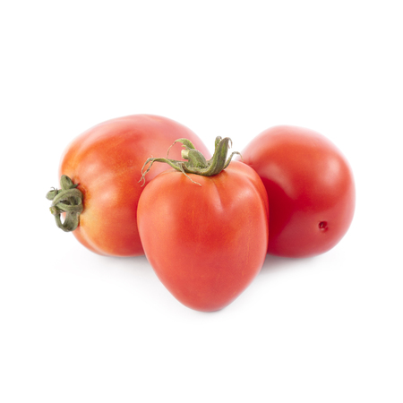 Pear tomatoes isolated on white background. Local product of Catalonia (Spain)