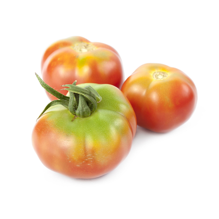 growers: Tomatoes for salads isolated on white background. Local product of Catalonia (Spain) called Pometa or Palosanto Stock Photo