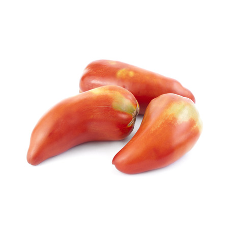 Pepper tomatoes isolated on white background. Local product of Catalonia (Spain) called Nas de bruixa (witch nose) Stock Photo