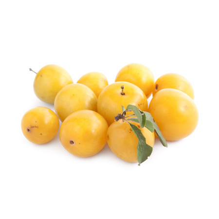 Small yellow plums isolated on white background