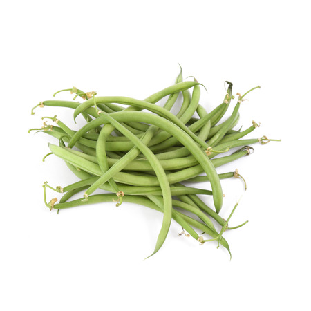 nearness: Needle green beans isolated on white backgrounds Stock Photo