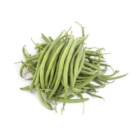 ejotes: jud�as verdes agujas aisladas en los fondos blancos