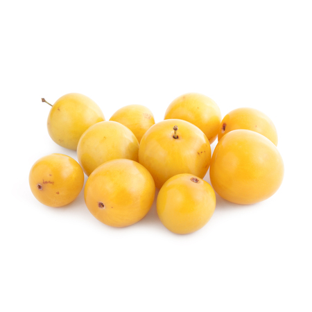 growers: Small yellow plums isolated on white background