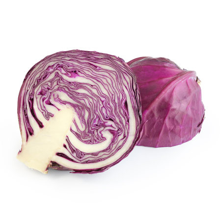 Red cabbage cut in half isolated on white background