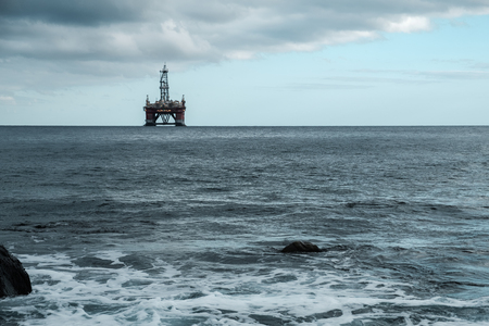 Oil station in the middle of the sea, near Tenerife - Canary Islands, Spain