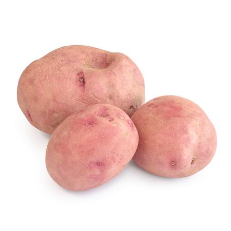 Ecologic red potatoes isolated on white background