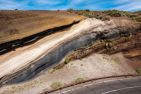 Nice layers of stone in different colors and textures along the road in Teide National Park, Tenerife, Canary Islands, Spain Banque d'images