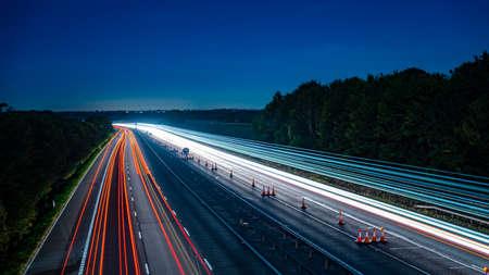 Long exposure of motorway at night
