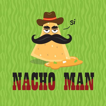Nacho Man in Cheese Food Illustration