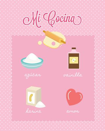 Mi Cocina My Kitchen Spanish Baking Ingredients Иллюстрация