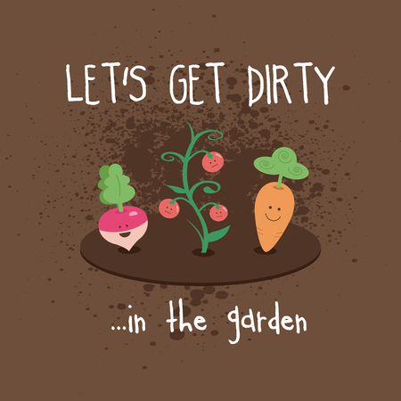 Dirty Garden Kawaii Cute Vegetables Turnip Carrot Tomatoes Illustration