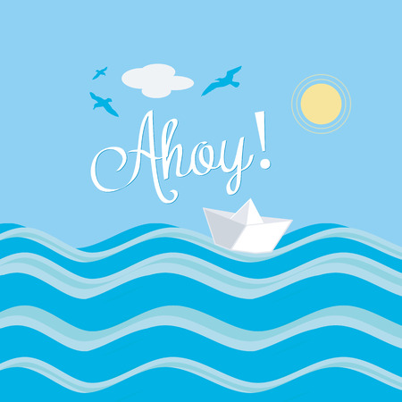 paper boat: Paper Boat Ahoy Water Sun Summer Sailing Illustration