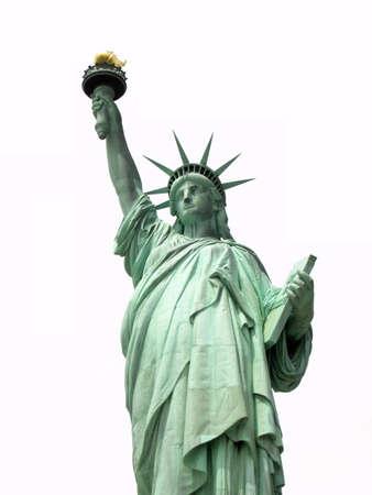 white: Statue of Liberty on white background. Stock Photo