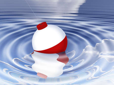 A bobber floating in water;