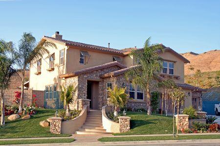 freshly landscaped new suburban home