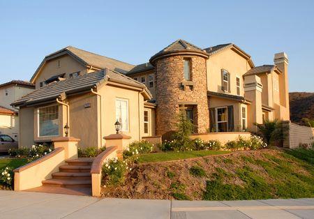 suburban home in late evening sun