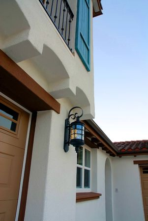 architectural detail of new residential construction photo