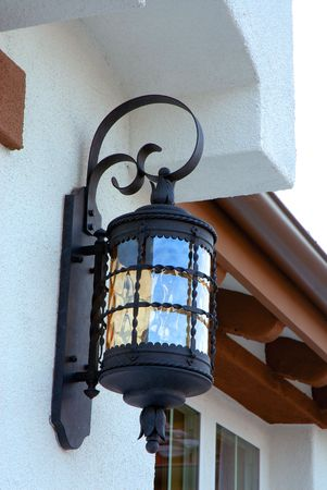 light fixture: outdoor light fixture by front entrance Stock Photo